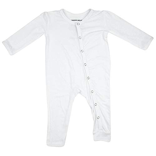 ADDISON BELLE Premium Knit One Piece Baby Romper Ultra Soft & Breathable - 0-3 Month Size (White)