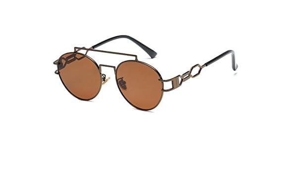 d35d87f6a Amazon.com: GigaMax TM Gothic Steampunk Sunglasses Men Women Metal Wrap  Sunglasses Round Aviation Hollow Shades Brand Designer Sun glasses UV400[  coffee ]: ...
