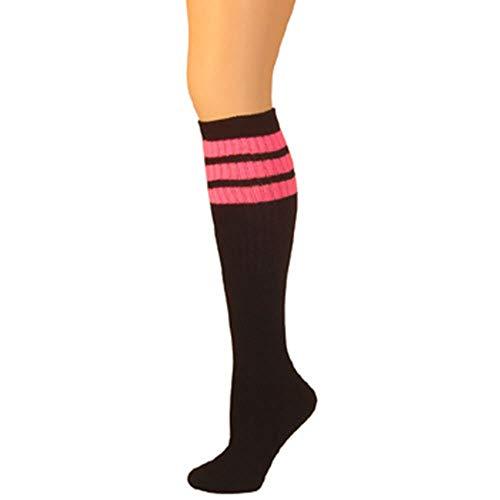 Custom Tube Socks - AJs Retro Knee High Tube Socks - Black, Hot Pink