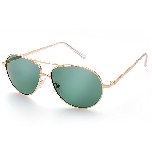 Aviator Sunglasses for Kids Girls Boys Children Age 4 to 12, Eyewear for Small Face, Gold Metal Frame, Green Lens, Case Included