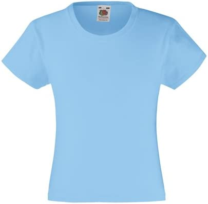 Fruit of the Loom Girls Valueweight Tee Sky Blue 7-8 Yrs