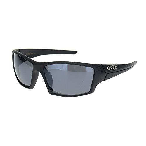 (Mens Choppers Spider Web Motif OG Biker Plastic Sunglasses Matte Black)