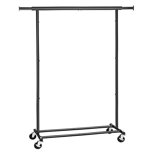 SONGMICS Clothing Garment Rack on Wheels, Heavy-Duty Clothes Rack, Collapsible, with Extendable Hanging Rail, Bottom Storage Shelf, Black UHSR13BK