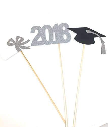 3 piece set of School Colors Centerpiece Sticks including Diploma, Grad Cap, 2018 for DIY Graduation Decor (Silver, 2018) (School Cap Color)