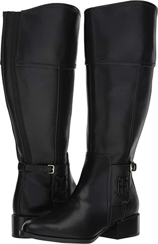 Tommy Hilfiger Women's MANI Equestrian Boot, Black, 9 Medium/Wide Shaft US