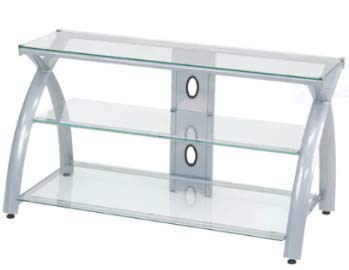 Amazon Com Tv Stands Table Cabinet Silver Metal Glass Display