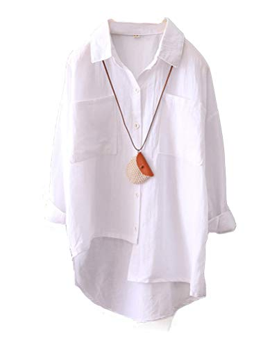 Mordenmiss Women's Linen Shirt Blouse Casual Button-Down Hi-Low Tunic Tops (L,White)