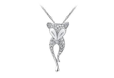 veuer joyas para mujer plateado collar de cadena colgante de gato blanco de oro chapado en