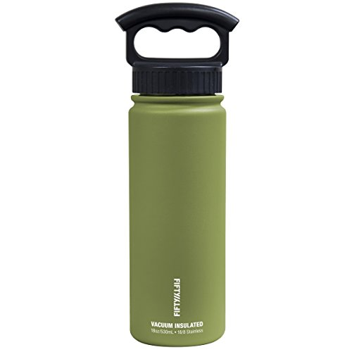 Fifty/Fifty V18006OL0 18oz Olive Double Wall Vacuum Insulated Stainless Steel Water Bottle / Travel Coffee Mug, (Wide Mouth 3 Finger Grip Lid), 1 (Eighteen Bottle Wall)