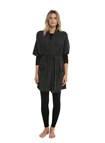 Barefoot Dreams CozyChic Lite Belted Kimono Cardi, Short Sleeve Cardigans for Women, Oversized Ribbed Sweaters with Open Front, Fall and Winter Outerwear - (Carbon Black)