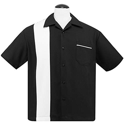 Steady Clothing Mens Poplin Single Panel Bowling Shirt Black White