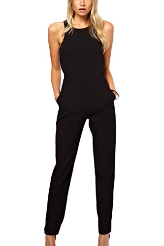 nt Sleeveless Party Jumper Playsuits Jumpsuits Overalls Black L ()