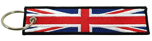 (United Kingdom of Great Britain Union Jack Flag Key Chain, 100% Embroidered)
