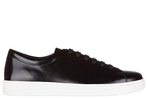 Prada Men's Shoes Leather Trainers Sneakers Spazzolato Rois Black US Size 7 4E2996_OVD_F0632