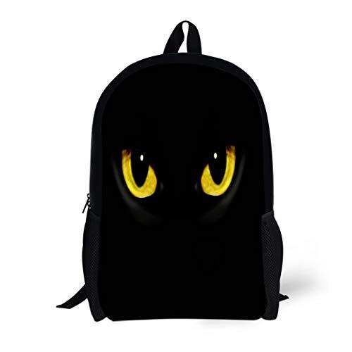 Pinbeam Backpack Travel Daypack Yellow Panther Cat Eyes in Dark Night Green Waterproof School Bag