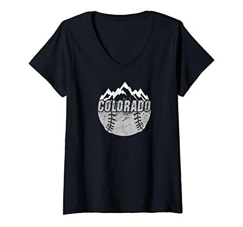 Womens Colorado Baseball Rocky Mountains Design V-Neck T-Shirt