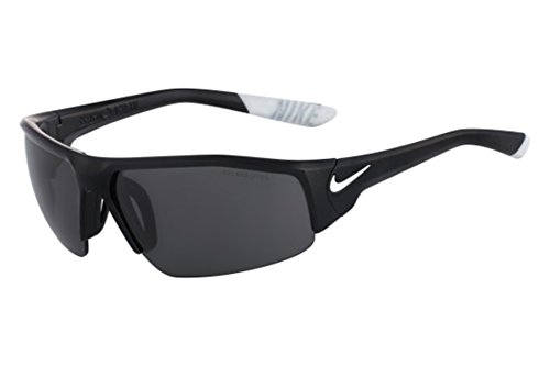 Nike Golf Skylon Ace XV Sunglasses, Matte Black/White Frame, Grey with Silver Flash Lens (Grey Lenses Flash Silver)