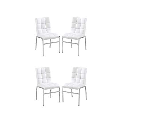 K LIVING Treston Dining Chairs with Soft PU Back and SEAT with Chrome Legs in White (Includes 4 Chairs PER Box)