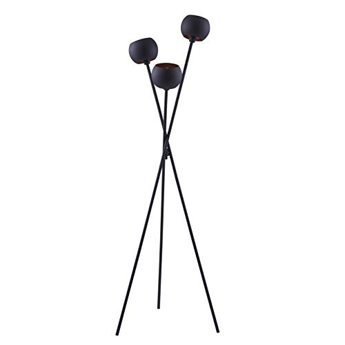 Archiology TRI Black Metal Globe Head Tripod Floor Lamp - Mid Century Modern Living Room Standing Light - Tall Contemporary Sphere, Orb Shade Uplight for Bedroom or Office
