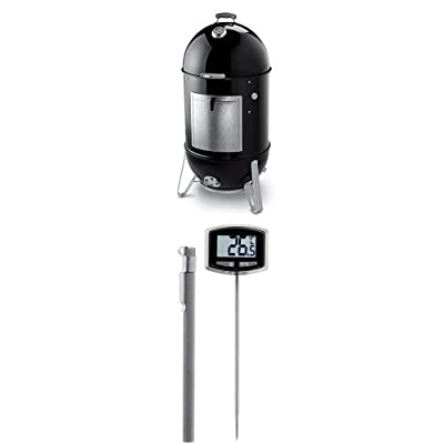 Weber 731001 Smokey Mountain Cooker 22-Inch Charcoal Smoker, Black and Thermometer Bundle