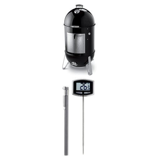 Weber Built In Cover - Weber 731001 Smokey Mountain Cooker 22-Inch Charcoal Smoker, Black and Thermometer Bundle