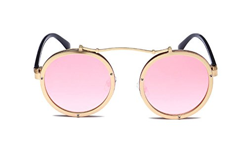 lunettes de métal Keephen Round Frame cadre Steampunk Retro classique Or en Polarized Rose soleil WWqnH6R