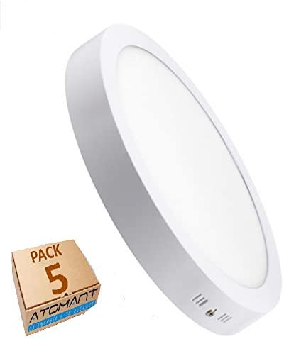 Oferta amazon: LED ATOMANT, S.L. Pack 5x Plafón Downlight LED Circular 20W superficie. Color Blanco Frio (6500K). 1800 lumenes. Driver incluido. A++           [Clase de eficiencia energética A++]