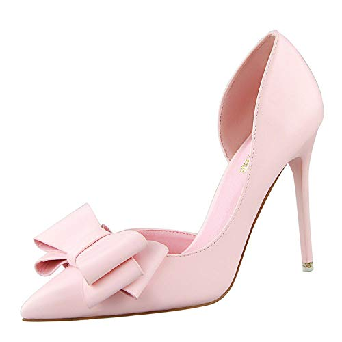 HHei_K Womens Fashion Solid Sweet Bowknot Sexy Stilettos High Heels Shoes Casual Pointed Toe Pumps Shoes Single Shoes Pink