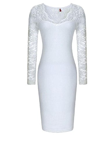 Coolred-femmes V Couture Cou Dentelle Solide Robe Crayon Mi-longueur Mince Blanc