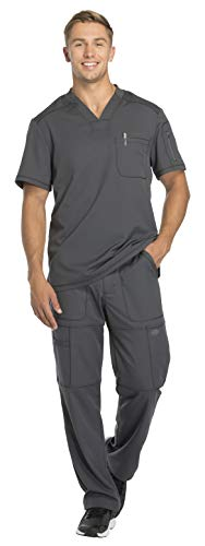 Dickies Dynamix Men's Stretch V-Neck Top DK610 & Men's Zip Fly Elastic Waist Drawstring Cargo Pant DK110 Scrub Set (Pewter - Medium/Medium Short)