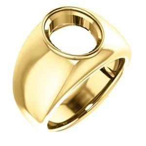 10K Yellow Gold, Men's Ring Mounting for Gemstone, Size ...