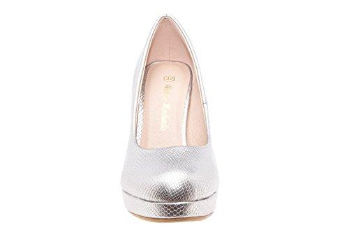 Andres Machado.AM554.Peep-Toes Vernis.Pour Femmes.Grandes Pointures . GrabadoPlata