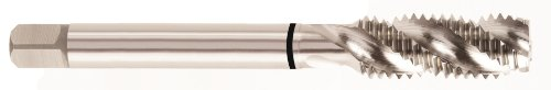 YG-1 T2 Series High Vanadium HSS Spiral Flute Combo Tap, TiCN Coated, Round Shank with Square End, Modified Bottoming Chamfer, 7/16''-14 Thread Size, H5 Tolerance by YG-1