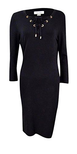 Calvin Klein Women's Petite Lace-up Zip-Trim Sweater Dress (PL, Black) by Calvin Klein