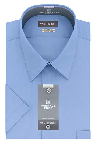 Van Heusen Men's Dress Shirts Short Sleeve Poplin Solid, Cameo Blue, 17.5