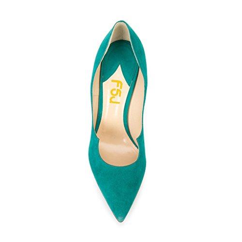 Fsj Women Chic Scarpe A Punta Pompe Faux Suede Tacchi Alti Slip On Stilettos Scarpe Eleganti Taglia 6-13 Us Turchese