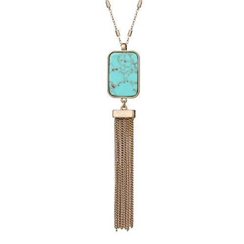 Monily Tassels Necklace Created-Turquoise Stone Necklace Long Sweater Necklace for ()