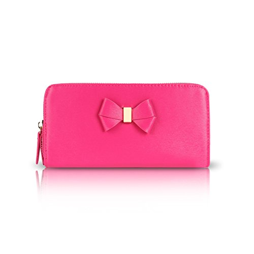 Ladies Single Zip Bow Charm Clutch Bag - Women's Wallet Purse GPA453 Fuchsia