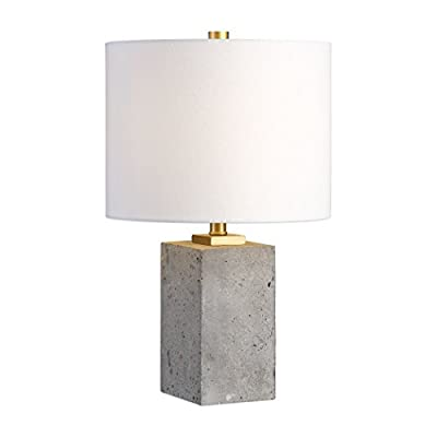 Concrete Block Cube Elegant Industrial Table Lamp | Modern Loft Gray Gold
