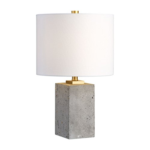 - Concrete Block Cube Elegant Industrial Table Lamp | Modern Loft Gray Gold