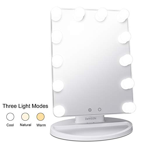 DeWEISN Hollywood Lighted Makeup Mirror with 12pcs LED bulb, Free to Switch Between Warm,Natural and Cool Light, Dimmalbe Countertop Cosmetic Vanity Mirror White ()