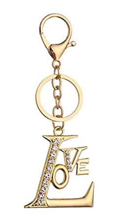 Giftale Love Letter Keychain for Women Cute Bag Charms Crystal Rhinestone Pendant Car Key Ring