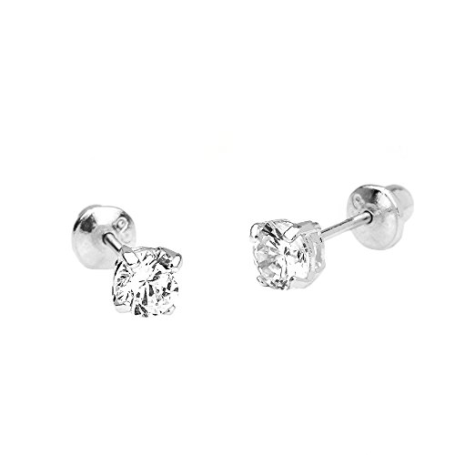 14k White Gold 4mm Basket Round Solitaire Cubic Zirconia Children Screw Back Baby Girls Earrings