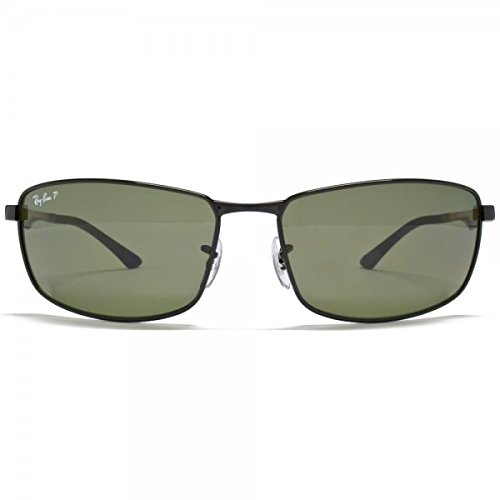 13c8d4074f Ray-Ban RB3498 Polarized Sunglasses Shiny Black w Crystal Green (002 9A