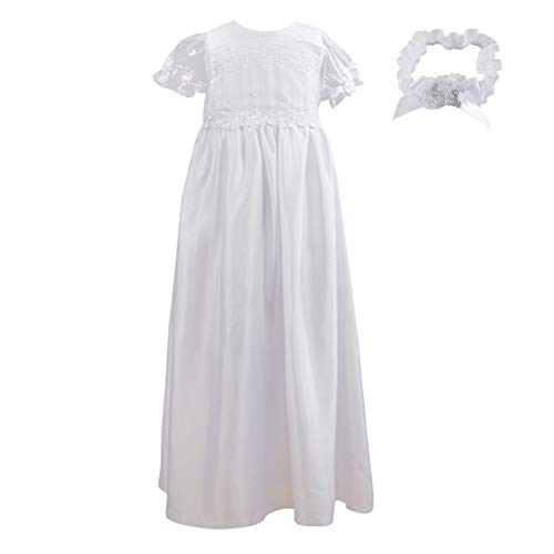 NIMBLE Baby Girls Baptism Christening Embroidered Gown with Headband for 0-12 Months (3-6 Months, White)