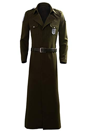 Adult Eren Jaeger Cosplay Costume Scouting Legion Soldier Officer Uniform Coat Green]()