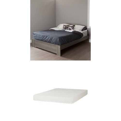 South Shore Gloria Queen Platform Bed , Gray Maple, and Some