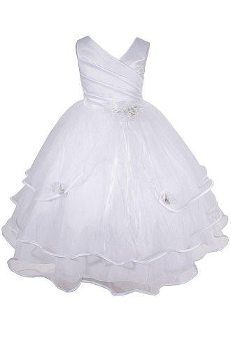 AMJ Dresses Inc Little Girls White Flower Girl Communion Pageant Dress