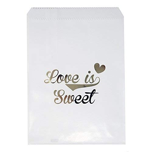 - Chloe Elizabeth Food Safe Biodegradable Paper Candy Favor & Treat Bags for All Parties - 48 Count Assorted, 7x5 Size (Love is Sweet, White & Gold)