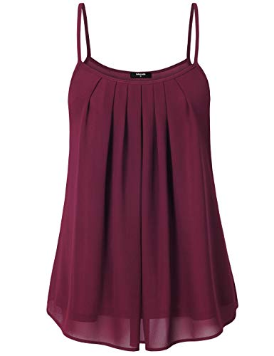 Lotusmile Womens Tank Tops, Summer Sleeveless Chiffon Lightweight Cool Layered Camisoles, Wine XXL ()